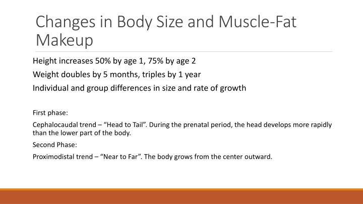 Changes in body size and muscle fat makeup