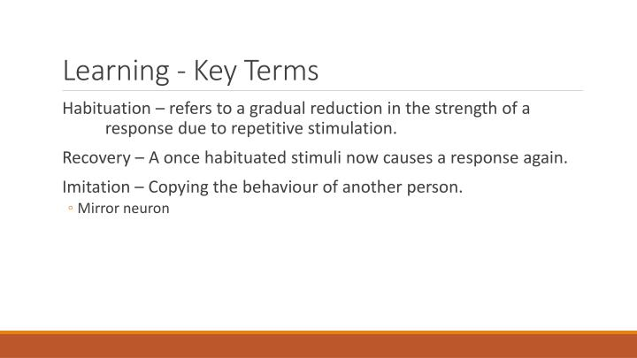 Learning - Key Terms