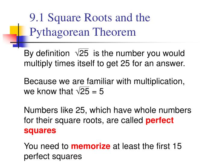 9 1 square roots and the pythagorean theorem