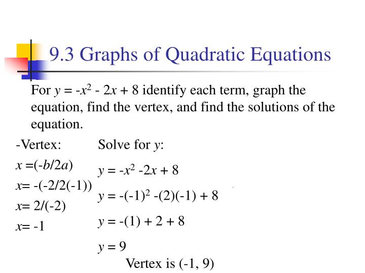 9.3 Graphs of Quadratic Equations