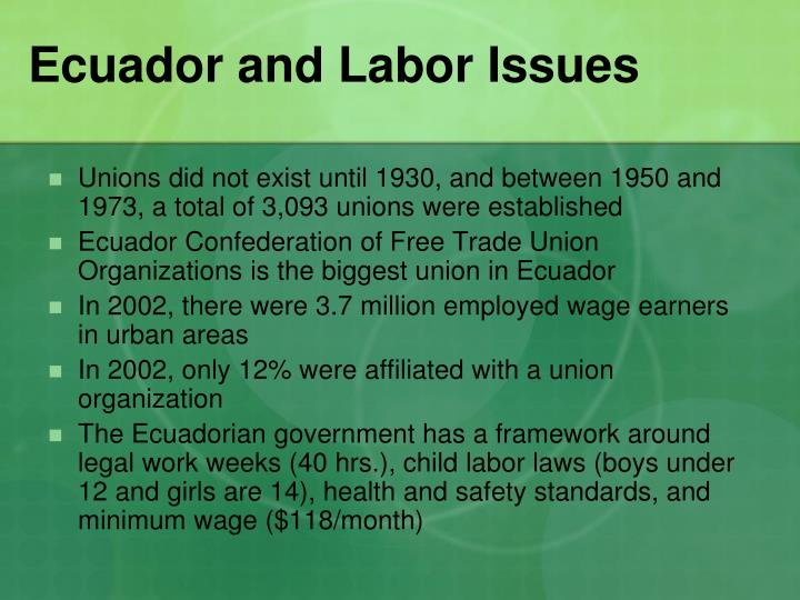 Ecuador and Labor Issues