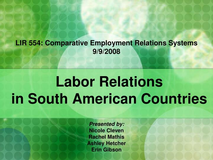 Labor relations in south american countries