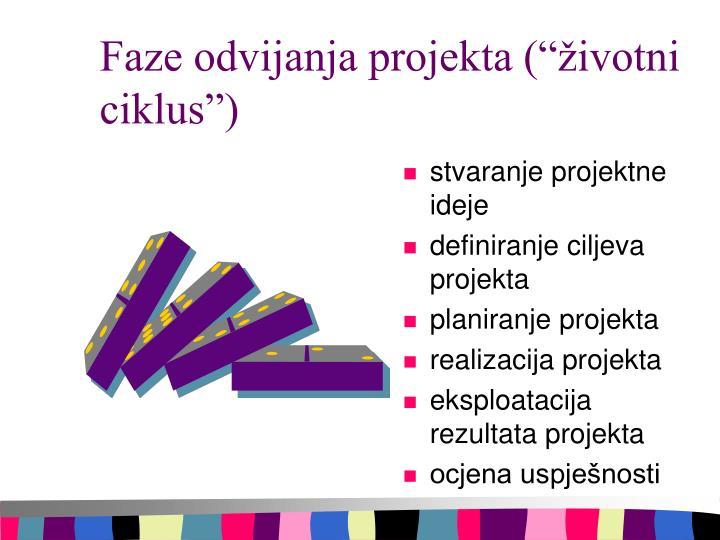 """Faze odvijanja projekta (""""životni ciklus"""")"""
