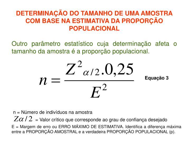 DETERMINAÇÃO DO TAMANHO DE UMA AMOSTRA COM BASE NA ESTIMATIVA DA PROPORÇÃO POPULACIONAL