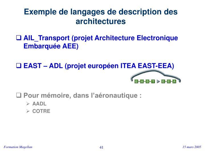Exemple de langages de description des architectures