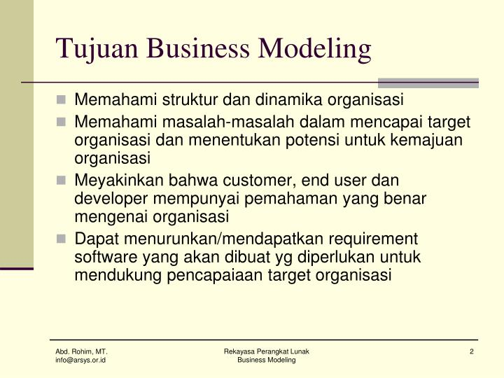 Tujuan business modeling