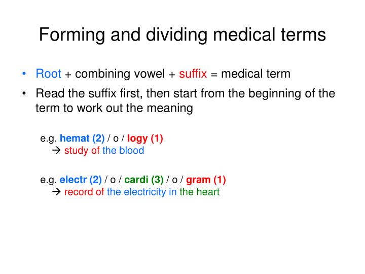 Forming and dividing medical terms