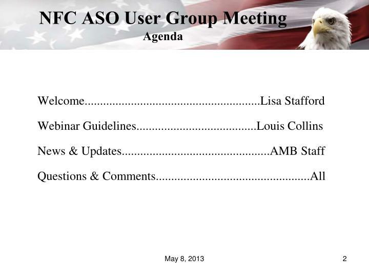 Nfc aso user group meeting agenda
