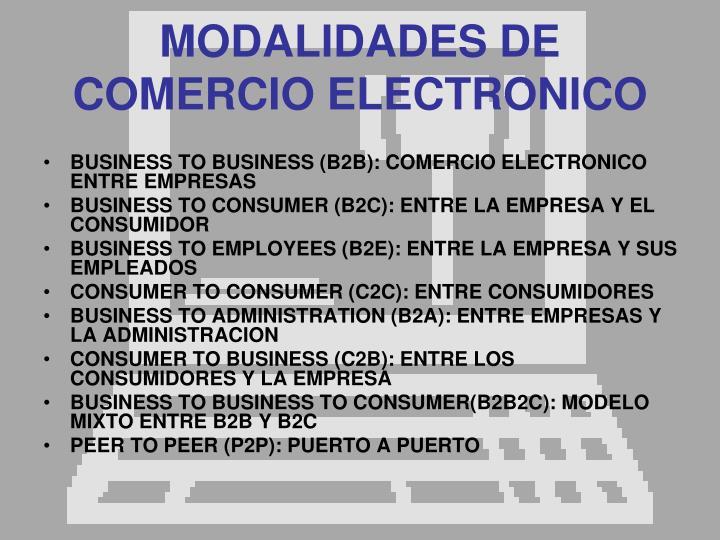 MODALIDADES DE COMERCIO ELECTRONICO