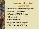 learning objectives continued