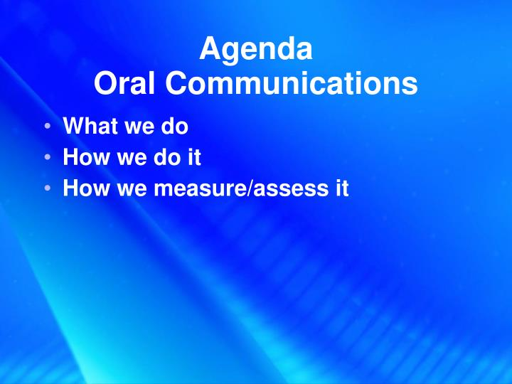 Agenda oral communications