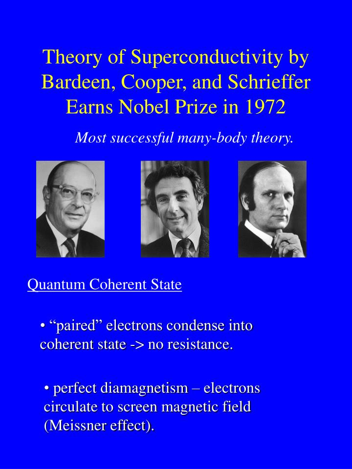 Theory of Superconductivity by Bardeen, Cooper, and Schrieffer Earns Nobel Prize in 1972