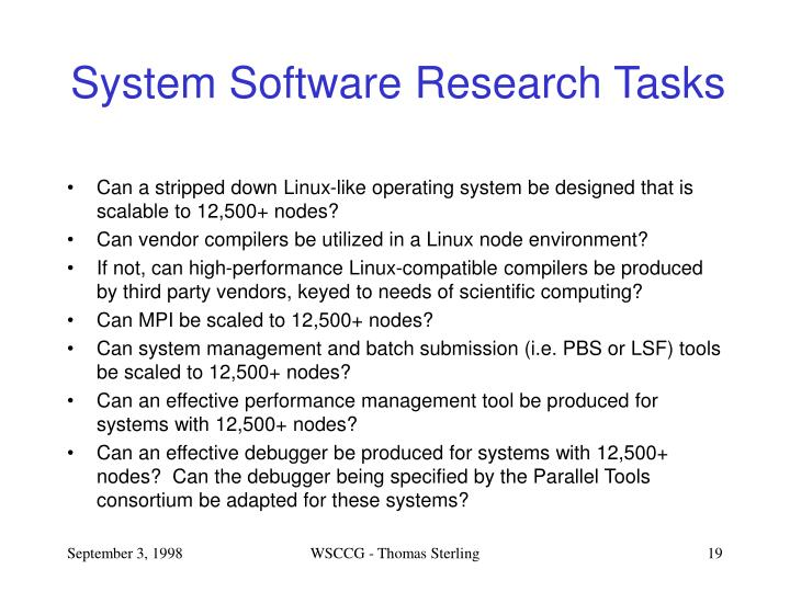 System Software Research Tasks
