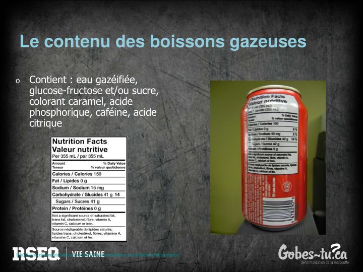 Le contenu des boissons gazeuses