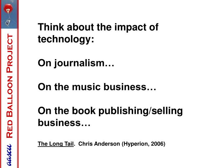 Think about the impact of technology:
