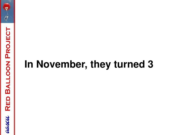 In November, they turned 3