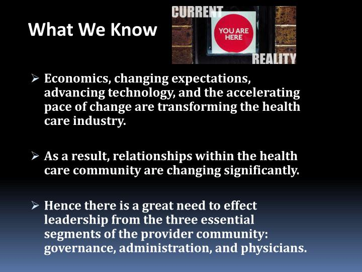 Economics, changing expectations, advancing technology, and the accelerating pace of change are transforming the health care industry.