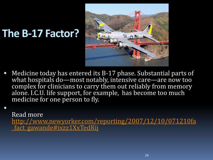 The B-17 Factor?