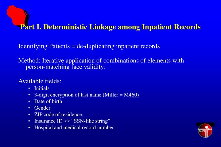 Part I. Deterministic Linkage among Inpatient Records