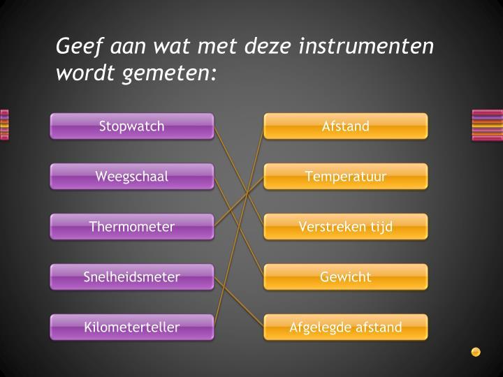 Geef aan wat met deze instrumenten wordt gemeten: