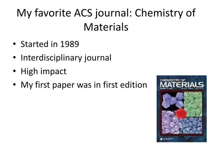 My favorite ACS journal: Chemistry of Materials