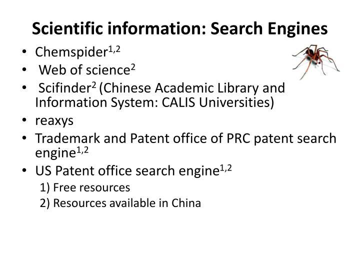 Scientific information: Search Engines