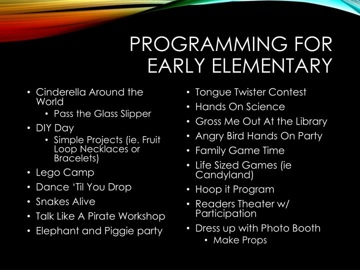 Programming for Early Elementary