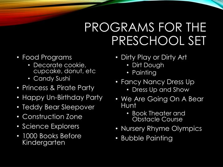 Programs for the Preschool Set