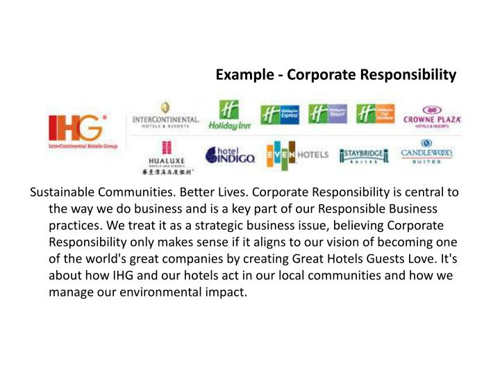 Example - Corporate Responsibility