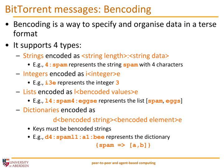 BitTorrent messages: Bencoding