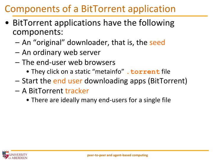 Components of a BitTorrent application
