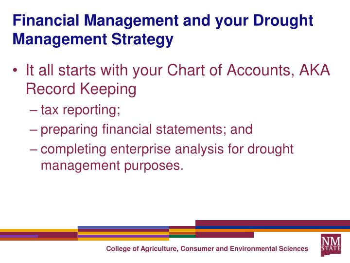 Financial Management and your Drought Management Strategy