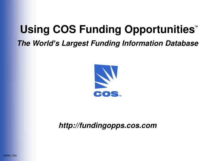 Using COS Funding Opportunities