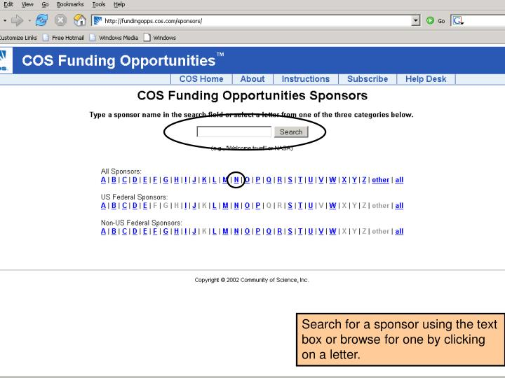 Search for a sponsor using the text box or browse for one by clicking on a letter.