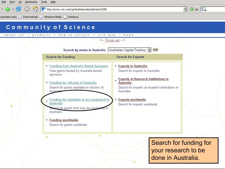 Search for funding for your research to be done in Australia.