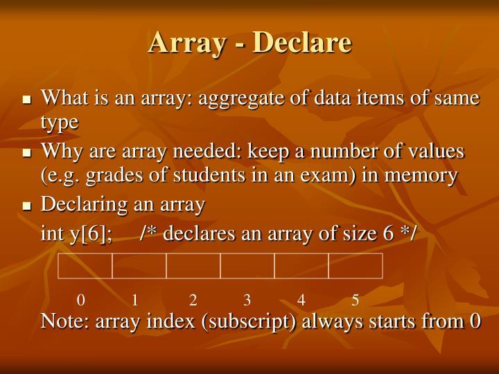 Array declare
