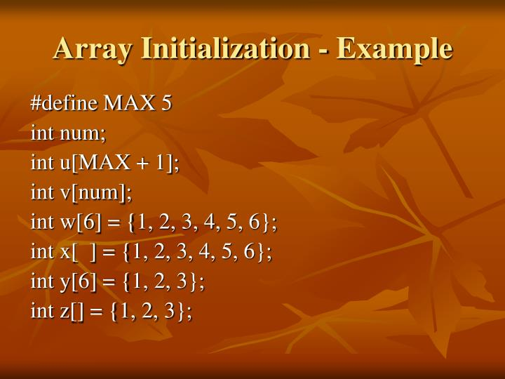 Array Initialization - Example