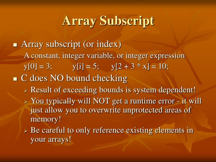 Array Subscript