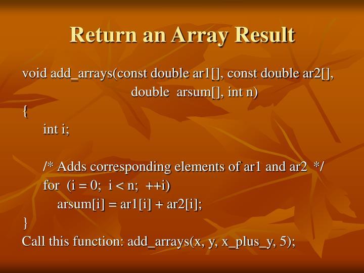 Return an Array Result