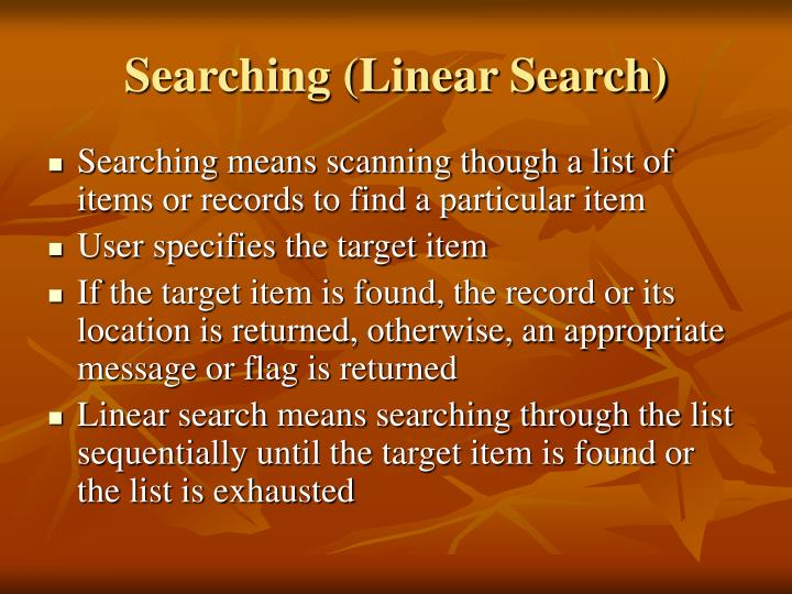 Searching (Linear Search)