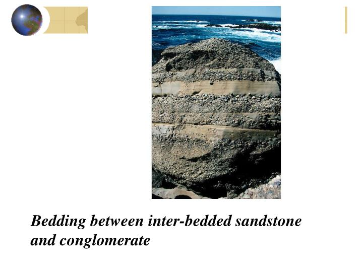 Bedding between inter bedded sandstone and conglomerate