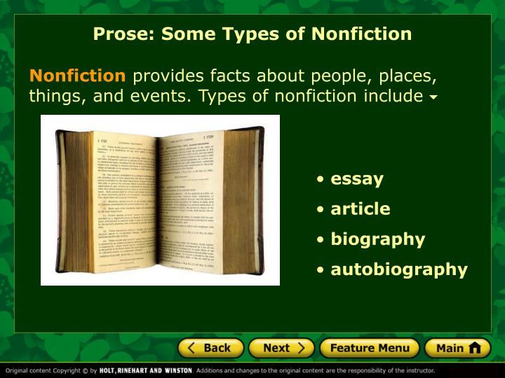 Prose: Some Types of Nonfiction