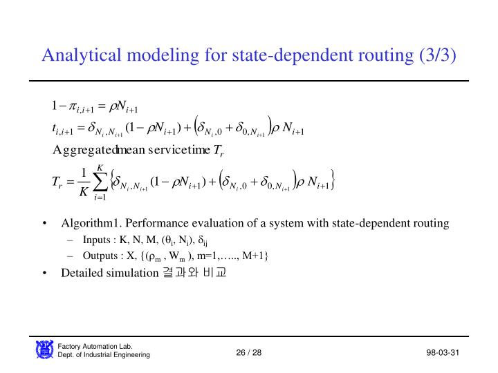 Analytical modeling for state-dependent routing (3/3)