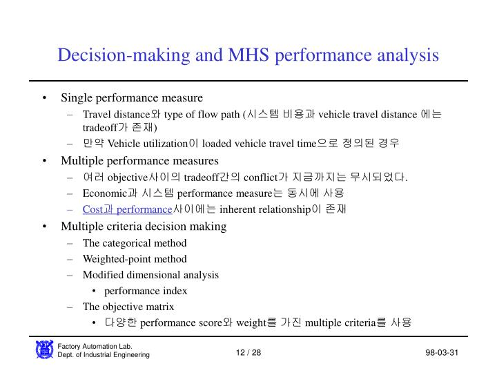 Decision-making and MHS performance analysis