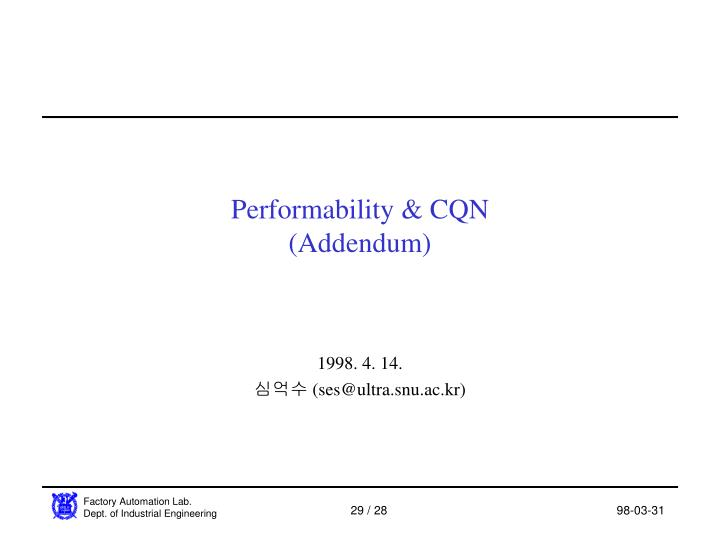 Performability & CQN
