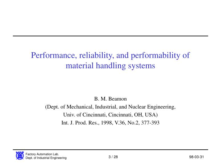 Performance reliability and performability of material handling systems