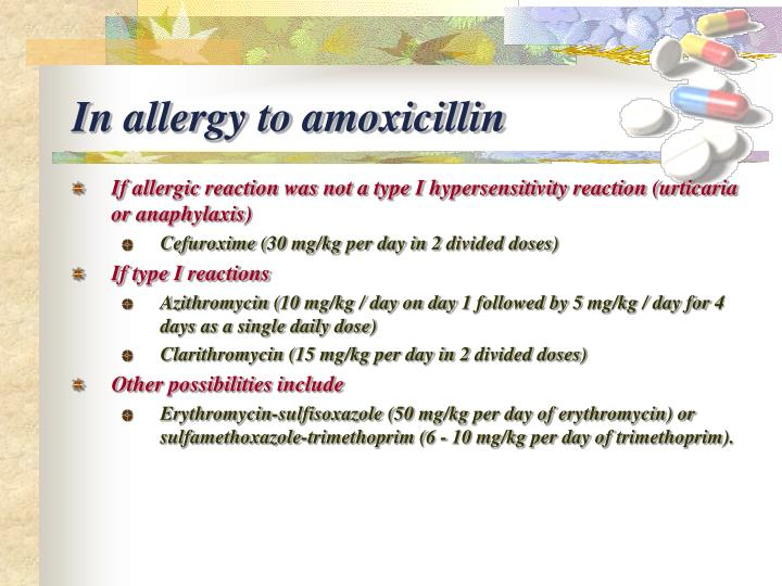 In allergy to amoxicillin