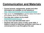 communication and materials