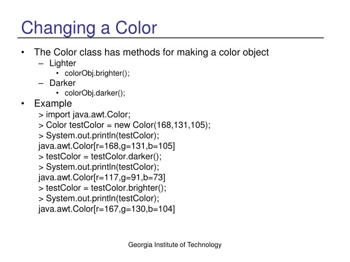 Changing a Color