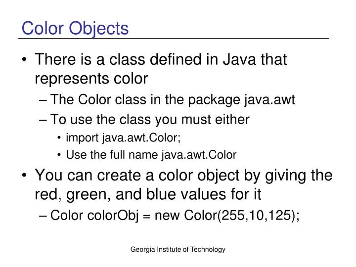 Color Objects